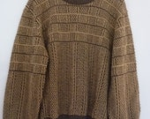80's Men's Sweater Pullover Style Crewneck Hipster London Fog Wool Blend Brown/Beige Check Pattern Made in USA Size M