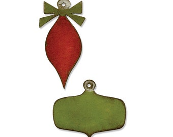 Sizzix - Tim Holtz Alterations - Movers & Shapers Magnetic Die Set 2 Pack - Mini Retro Ornaments
