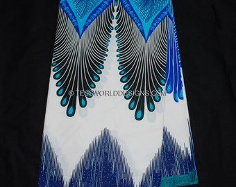 Plume African fabric by the yard/ Java Fabric / African print/ Tissue Africain/ Blue/ White/ WP861B