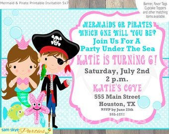 Under the Sea, Pirate and Mermaid Invitation, Birthday Parties, Mermaid Party, Pirate Party Printable File