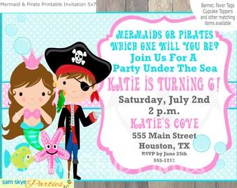 Pirate And Mermaid Invitation Mermaid And Pirate Printable