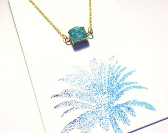 Aquamarine Square Druzy Charm Necklace on 18K Gold Chain