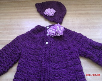 I Heard It on the Grape Vine New sweater and hat set 3 to 6 mons.