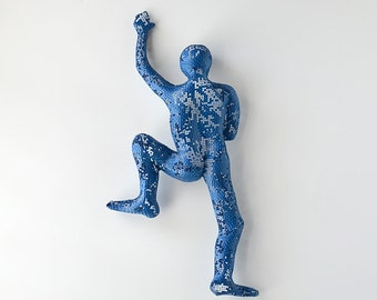 Climbing man sculpture, wire mesh, hanging man, metal sculpture, wire wall art, Modern art, blue