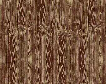 Wood Grain in Bark by Joel Dewberry - Free Spirit - Brown Fabric - Faux Bois - Aviary 2 - Brown Material Fabric - Wood Grain Fabric