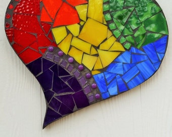 Rainbow Heart Mosaic, Stained Glass Mosaic Wall Decor, Mosaic Wall Hanging