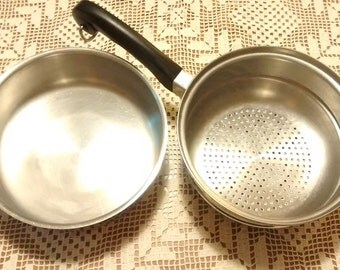 Vintage Saladmaster pudding pan & strainer insert. Stainless steal 18-8 tri-clad, excellent condition.