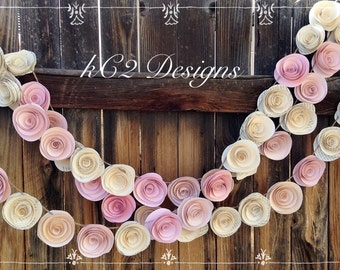 Paper Flower Garland blush garland Wedding Garland. Book page flowers Ivory garland