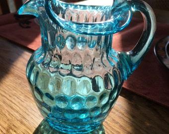 Vintage teal mini pitcher