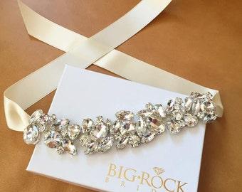Rhinestone Bracelet with ribbon tie closure