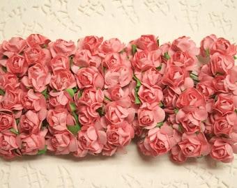 144 Coral Pink Paper Roses