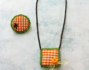 Jewelry Set necklace and brooch - fabric jewelry - fantasy - floral jewelry - fabric brooch