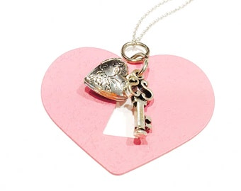 Big heart and locket necklace- love necklace- valentines necklace-gift for her