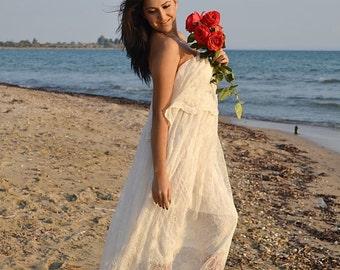 Sale Boho Wedding Dress Cotton Lace Ivory 70s Beach
