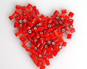 Rare Vintage Venetian Cherry Red White Heart Seed Beads Large Tubes 10 grams