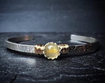 Golden Rutilated Quartz Cuff Bracelet / Sterling Silver Cuff / Gemstone Cuff Bracelet / Genuine Rutilated Quartz Bracelet / Womens Jewelry