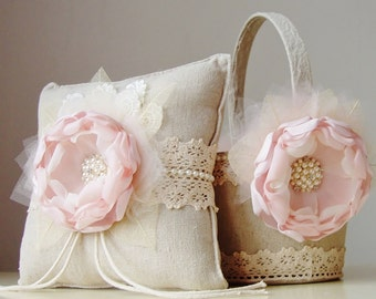 Flower Girl Basket, Ring Bearer Pillow, Vintage Basket and Pillow, Blush Flower Girl Basket and Ring Bearer Pillow