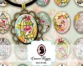 75% OFF SALE BIRD Cage Oval 30x40 mm Digital Collage Sheet Printable Pendants Magnets Instant Download
