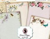 75% OFF SALE OLD Paper Cards Digital Collage Sheet Set of 8 Digital Journaling Scrapbooking Printable cards Instant Download