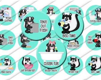 Chores Cleaning  Bottle Cap Images 1 inch circle image sheet Digital Collage INSTANT DOWNLOAD Daily routine