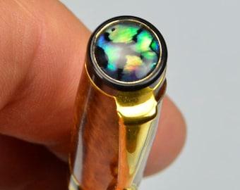 ALASKAN GOLD NUGGET Texas Oak Crotch Paua Shell Crown Rollerball Pen Ladies Gift #40