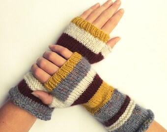 Knit fingerless gloves arm warmers fingerless mittens knit wrist warmers hand warmers striped yellow brown grey