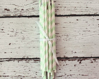 Paper Party Straws : Mint Green Stripe - Pretty Party Supplies by The Paper Doll