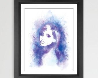 Buffy Watercolor Portrait Print