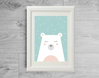 Polar bear print - Snow and bear poster - Pastel print - Pastel tones - Nursery print - Animal print - Kid's room wall art -Nursery art