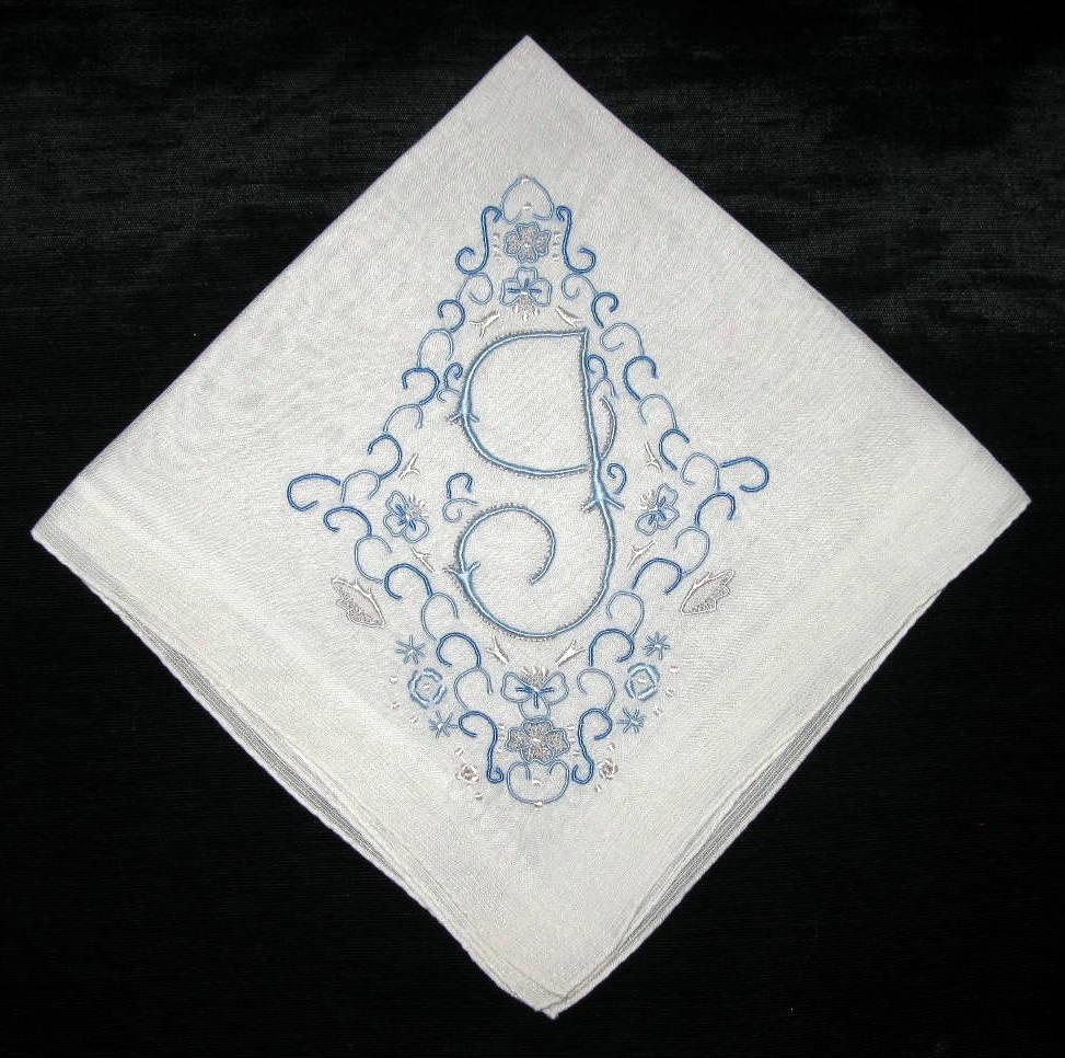 Wedding Something Blue Handkerchief Monogram By VintagebyTeresa