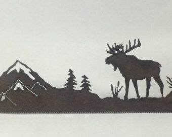 Metal Moose in Mountain Scene Plasma Cut by Hand Repurposed Hand Saw, Wall Decor, Art