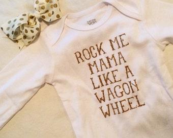 Rock Me Mama - Wagon Wheel Baby Bodysuit