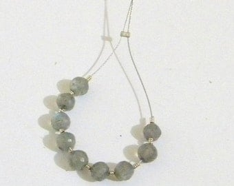 Autumn Sale Labradorite Faceted Round Beads - 4 mm - 9 Beads Made by Earth Bazaar, Iridescent Shades of Green Blue on Gray