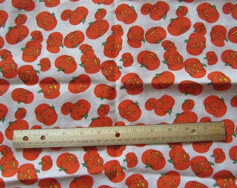 White with Orange Pumpkins Cotton Fabric by the Yard