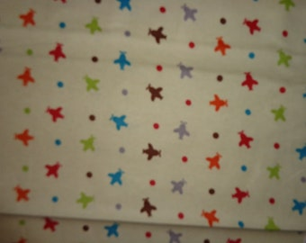 Cream wih Multicolor Airplanes Flannel Fabric by the Yard