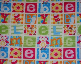 Baby Girl Things Blocked Owl/ABC Flannel Fabric by the Yard
