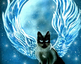 Moon Goddess Fairy Cat Painting Fantasy Art Print by Michaeline
