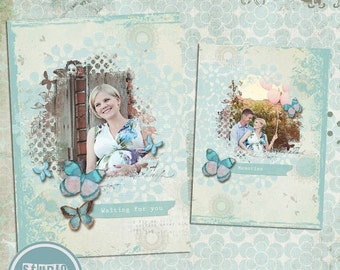 ON SALE INSTANT Download 5x7 Digital Photo Card Template - Birth Announcement or Multi Use Romantic vol.7