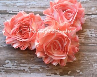 "Set of 3  **Salmon Pink Chevron** print Shabby Flowers Chiffon Rosette Flowers- Vintage style 2.5"""