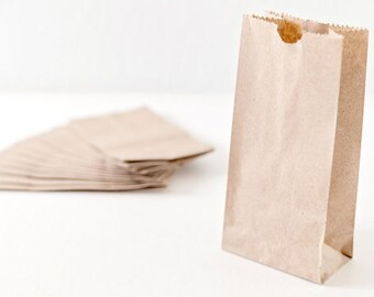 100 Extra Small Brown Bag| Kraft Paper bags |Lunch Bags |Gusset Bag |party favor bag| wedding favor bag | Kraft Bags | 3.5 x 6.5 x 2 inches