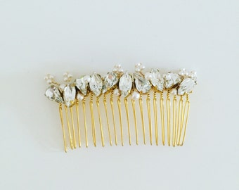 Swarvoski Crystal Hair Comb, Gold Bridal Comb, one-of-a-kind hair comb, Gold wedding accessories, bridal headpiece, Bridesmaids, Style H025