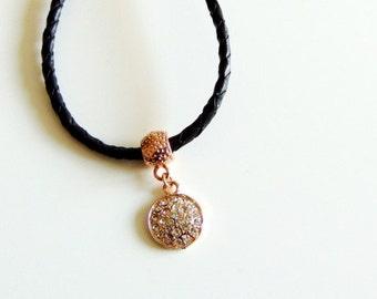 Wrap Around Leather Charm Necklace Bracelet