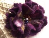 Dark Purple Felted Flower Brooch Pin,Wool Felt, Felted Wool, Felt Brooch, Flower, Flower Pin Brooch, Felt Flower Pin, Beaded Flower
