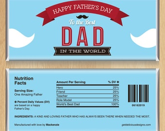 SPRING SALE! Personalized Candy Bar Wrappers - World's Finest Dad by Delicious Designs [Father's Day]