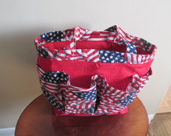 Americana Bingo Bag, Crafter's Tote, Hair Accessory Tote