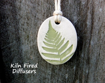 Fern Essential Oil Diffuser Necklace, Aromatherapy Clay Jewelry Nature Inspired Botanical Pendant Handmade Teacher Gift Idea Natural Healing