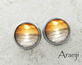 Glass dome sunset earrings, sunset earrings, sunset stud earrings, ocean stud earrings, sea earrings