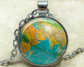 Globe necklace, map pendant, globe pendant, map necklace, map jewelry, vintage globe necklace, map, antique globe, Pendant#HG185P
