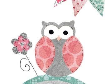 Pink grey teal Owl Nursery print, instant download printable art, girl art, digital print, nursery art, 8x10 11x14 - Pink grey owl print