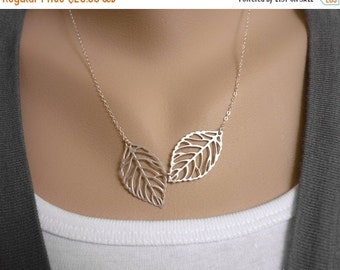 SALE Entwined Leaves Necklace, Leaf Pendant Necklace, Sterling Silver Chain, bridesmaid gift, wedding jewelry, bridal jewelry, mom sister gi